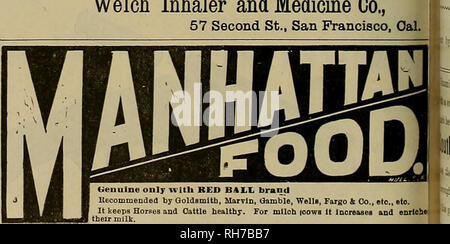 . Breeder and sportsman. Horses. Can be worn without discomfort while feeding aud sleeping. A SPECIFIC FOE CATAEEH IN HORSES Cures and prevents DISTEMPER, and all contagious diseases COUGHS, COLDS. PINK-EYE, IN FLTJENZA, NASAL, GLEET, HEAVES, etc. The only effectual method invented of applying medlcin directly to the seat of the above-mentioned ailments in horses aud cattle. Address Welch Inhaler and Medicine Co., 57 Second St., San Francisco, Oal.. Genuine only with RED BALL brand Recommended by Goldsmith, Marvin, Gamble, WellB, Farflo & Co., etc, etc. It keeps Horses and Cattle healthy.  - Stock Photo