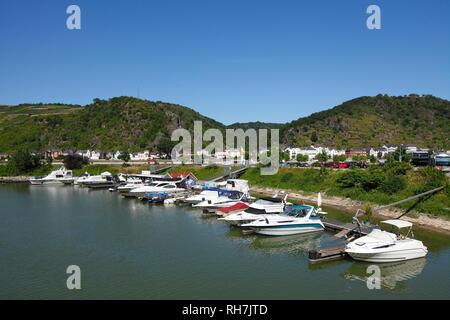 Marina, St. Goar, UNESCO World Heritage Upper Middle Rhine Valley, Rhineland-Palatinate, Germany, Europe I Jachthafen, St. Goar, Unesco Weltkulturerbe - Stock Photo