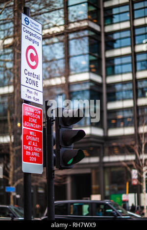 London Congestion Zone - sign marking the start of the London Congestion Charging Zone near Old Street Roundabout in Central London - Stock Photo