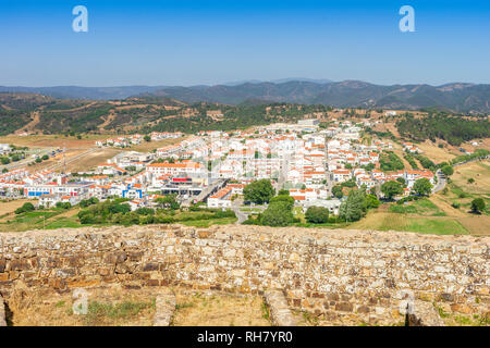 Charming Aljezur with the Moorish castle in foreground, Algarve, Portugal - Stock Photo