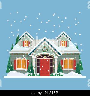 Yard with house or home decorated for new year - Stock Photo