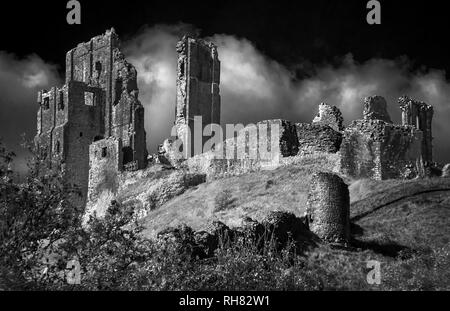 Infrared monochrome image of Corfe Castle in Dorset England