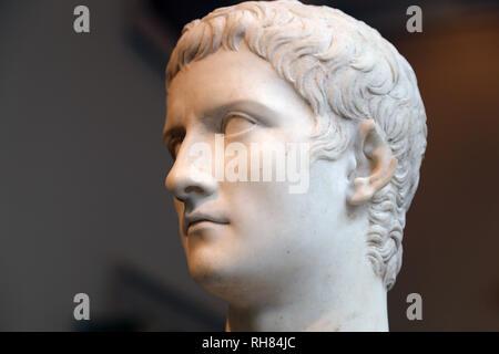 Portrait of emperor Caligula (12-41 AD). Marble. Julio-Claudian dynasty. Metropolitan Museum of Art,  Ny, USA - Stock Photo