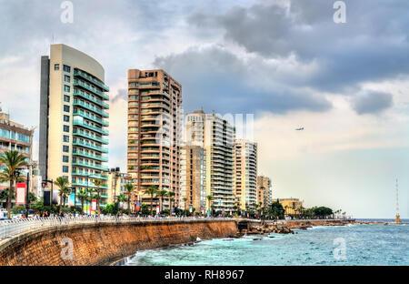 The Corniche seaside promenade in Beirut, Lebanon - Stock Photo