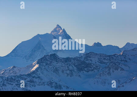 top of Weisshorn mountain in Switzerland in winter, view from Gemmi - Stock Photo