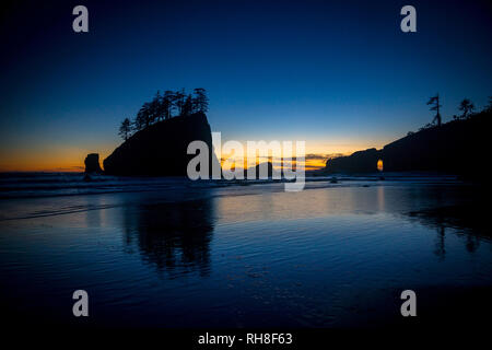 This beautiful location is called Second Beach near La Push in Olympic Nationalpark.  The area got famous in recent years as movie location for the tw - Stock Photo