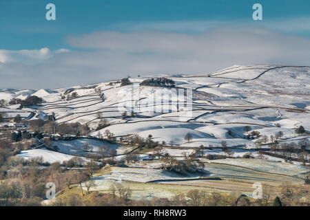 North Pennines AONB landscape, Kirkcarrion from Whistle Crag, Teesdale in winter - Stock Photo