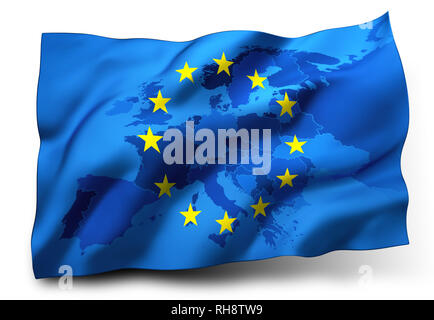 Flag of European Union blowing in the wind, Europe map inside. 3D illustration - Stock Photo
