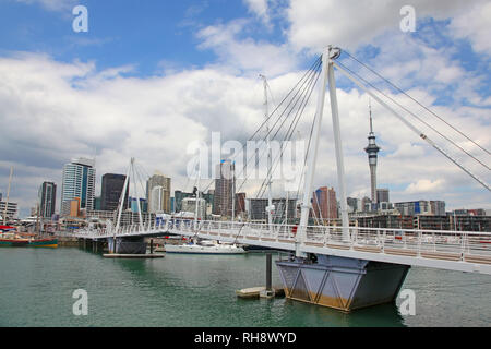 City view of Auckland, with high rise skyscrappers in the background, Noth Island, New Zealand. - Stock Photo