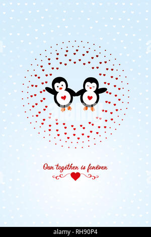 two little cute penguins on Valentines Day framed by hearts - Our together is forever - Stock Photo
