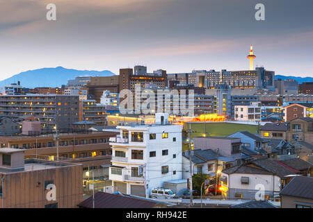 Kyoto, Japan city skyline from abvoe at dusk. - Stock Photo