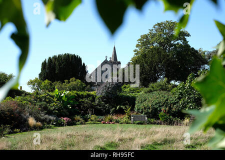 View of Mottistone Manor from the Gardens. - Stock Photo