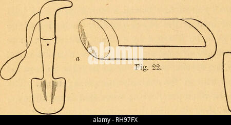 . The botanist's companion; or, Directions for the use of the microscope. Botany; Microscopy. 42 COLLECTING AND DRYING OF PLANTS. In taking up the roots of plants, a small Digger or trowel is used, 7 or 8 inches long (fig. 21); the spud 2^ inches long, 2^ inches wide at the top, narrowing gradually to 2 inches at the bottom, the lower angles slightly- rounded. It should be sufficiently strong to resist considerable force in digging out plants from the crevices of rocks. The iron portion, which unites the spud to the handle, should be particularly attended to in this respect. This'spade is put  - Stock Photo