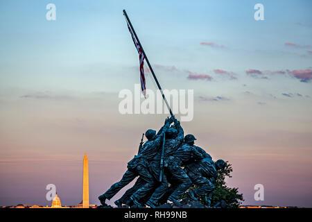Iwo Jima Memorial (U.S. Marine Corps War Memorial), Arlington, Virginia; Washington Memorial and U.S. Capitol Building, Washington,  District of Colum - Stock Photo