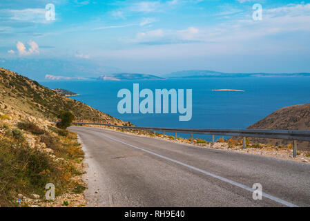 Mountain road near Stara Baska , Krk Island , Croatia - Stock Photo