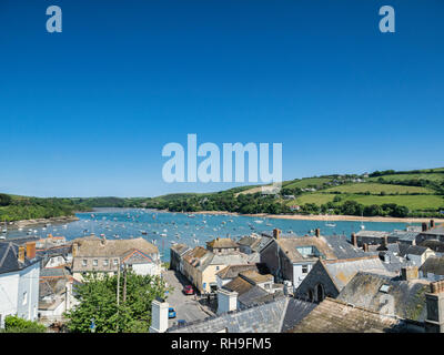 3 June 2016: Salcombe, Devon UK - The Kingsbridge Estuary and roof tops of Salcombe on a warm and sunny spring day with clear blue sky. - Stock Photo