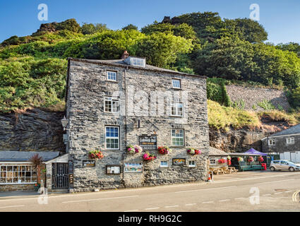 2 July 2018: Boscastle, Cornwall, UK: The Cobweb Inn, a Free House in the Cornish village. - Stock Photo
