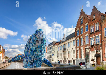 25 September 2018: Bruges, Belgium - The Bruges Whale, known as Skyscraper, made from  5 tons of plastic waste pulled out of the Pacific Ocean, for... - Stock Photo