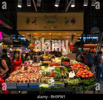 Stand with fruits and vegetables, Mercat de la Boqueria or Mercat de Sant Josep, market halls, Barcelona, Spain - Stock Photo