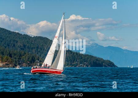 Sailboat on the sea, Howe Sound, near Vancouver, British Columbia, Canada - Stock Photo