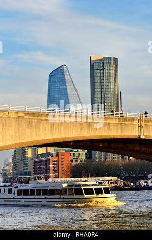 London, England, UK. Waterloo Bridge, with new buildings in the Southwark area - One Blackfriars (L - 2018) South Bank Tower (apartments,1972: formerl - Stock Photo
