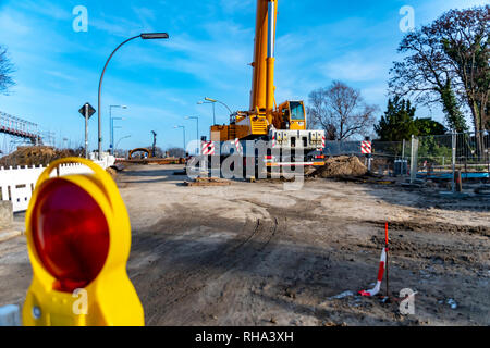 Berlin, Germany - January 19, 2019: Equipment of a construction site, on which the new railway line for the 'Dresden railway' is built, with a large c - Stock Photo