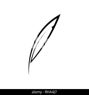 Outline feather icon on white - Stock Photo