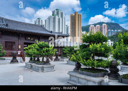 The Chi Lin Nunnery, a Buddhist Temple complex in Kowloon, Hong Kong, China, Asia. - Stock Photo