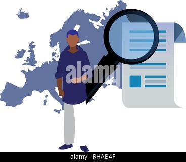 authorship man europe analysis digital copyright vector illustration - Stock Photo
