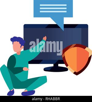 authorship man computer security copyright vector illustration - Stock Photo