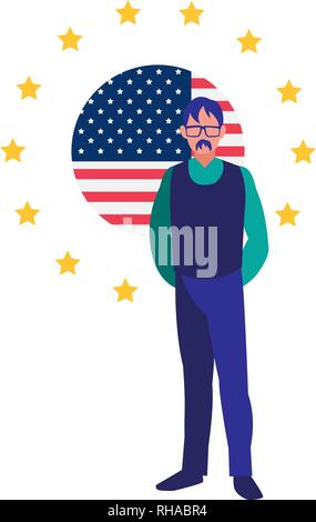 businessman american flag on white background vector illustration - Stock Photo