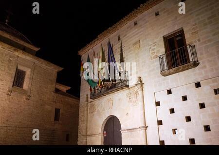 Castellar, Jaen province, Andalusia, Spain : Night view of the town hall placed at the Palacio de la Casa Ducal de Medinaceli in Plaza de la Constituc - Stock Photo
