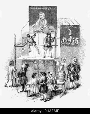 Conjurers at the Bartholomew Fair, one of London's pre-eminent summer Charter fairs that took place each year on 24 August from 1133 to 1855 within the precincts of the Priory at West Smithfield, outside Aldersgate of the City of London. Originally a cloth fair, the event drew crowds from all classes of English society. By 1641, the fair had achieved international importance and also featured sideshows, prize-fighters, musicians, wire-walkers, acrobats, puppets, freaks and wild animals. - Stock Photo