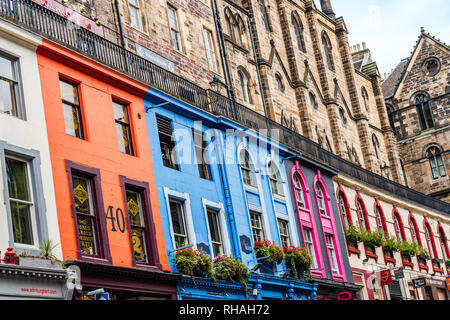 Edinburgh, Scotland, UK - August 27, 2018: Colorful houses on Victoria Street - Stock Photo