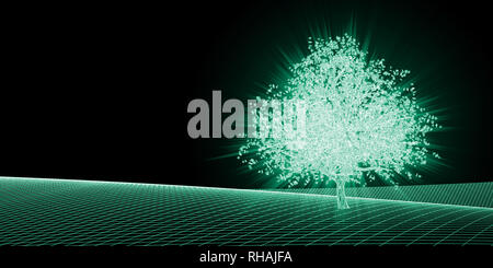 Abstract Geometric Background with Growing Tree as Tech Concept - Stock Photo