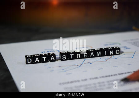 Data Streaming on wooden blocks. Transfer Connection Technology Networking Concept - Stock Photo