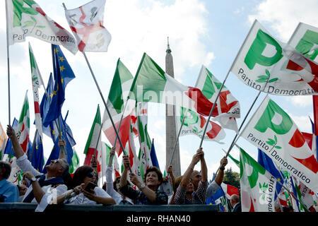 "ROME - September 30, 2018: Demostrators and flags during ""Per un'Italia che non ha paura"", the event of the Italian Democratic Party. - Stock Photo"
