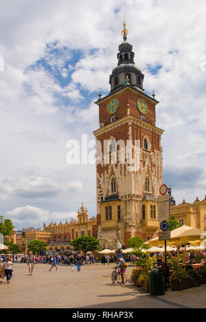 Krakow, Poland - July 8th 2018. The 13th century Town Hall Tower in the historic Rynek Glowny square in old town Krakow - Stock Photo
