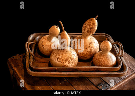 Ornamental pumpkins, gourds and squashes in a wooden tray on black background - Stock Photo