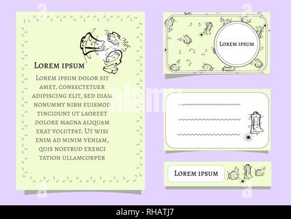 Set vector of card templates with floral elements for business cards, invitations, cards. contour lines flakonchikov for cosmetics. Black silhouettes - Stock Photo