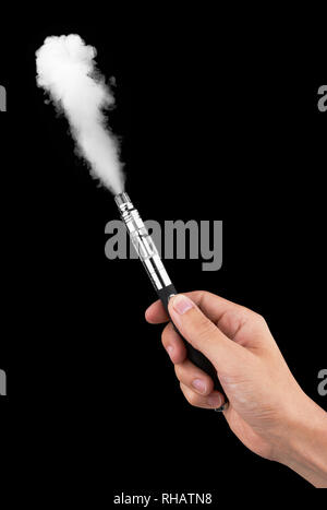 E-cigarette or vaping device in hand with steam, on black background - Stock Photo