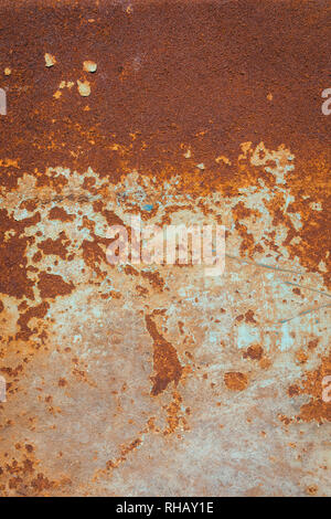 Rusty Metal Background Texture. Rusted, old, vintage, retro background texture on blue metal, steel or iron plate surface. Industrial obsolete concept - Stock Photo