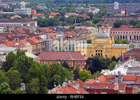 ZAGREB, CROATIA - JUNE 12, 2013: View of Zagreb city roofs, Croatia - Stock Photo