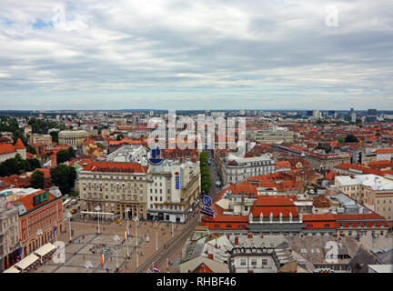 Zagreb, CROATIA – JUNE 12, 2013: View of Vlaska street, a street in the center of Zagreb, Croatia - Stock Photo