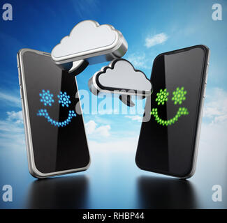 Smartphones with cloud shaped speech balloons. 3D illustration. - Stock Photo