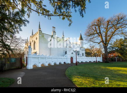 Front view of the entrance to Strawberry Hill House, a Gothic Revival villa built in Twickenham, London by Horace Walpole from 1749