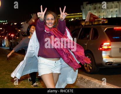 Doha Qatar 1st Feb 2019 Fans Of Qatar Celebrate At Doha