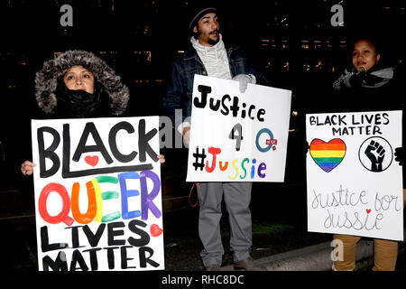 New York, NY, USA. 01 Feb., 2019.  New York LGBTQ communities rallied in solidarity with actor Jussie Smollett at Grand Army Plaza in Manhattan on 1 February, 2019. The 'Empire' actor was assaulted by two people yelling racial and homophobic slurs in Chicago, Illinois, where the hit television series is filmed, on 29 January, 2019, and left the actor hospitalized. © 2019 G. Ronald Lopez/DigiPixsAgain.us/AlamyLive News - Stock Photo