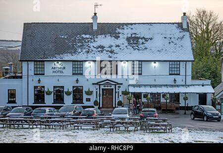 Swansea, UK. 01st Feb, 2019. The King Arthur Hotel in the village Reynoldston on the Gower Peninsula near Swansea this afternoon after the area was blanketed with snow. Credit: Phil Rees/Alamy Live News - Stock Photo