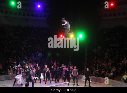 Kiev, Ukraine. 01st Feb, 2019. Circus artists seen walking in air during the show. The new international show 'Black and White' of German modern circus at the Ukrainian National Circus in Kiev, Ukraine. The show will be staged from February 2 till April 21. Credit: SOPA Images Limited/Alamy Live News - Stock Photo